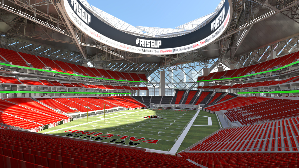 Credit: AJC. Concept of New $1.2 Billion Dollar Atlanta Falcons Football Stadium