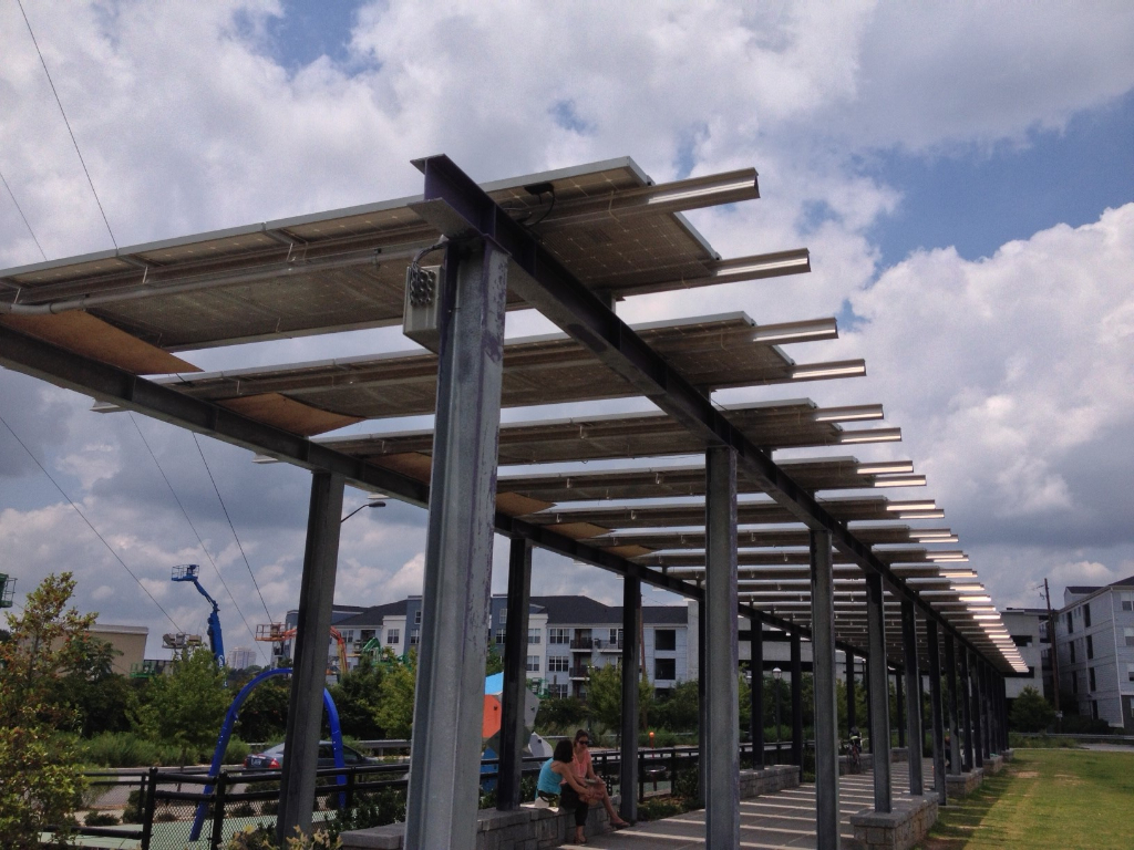 PV Solar Panels provide financial savings and shading from the sun on the Atlanta BeltLine near the Historic 4th Ward Skate Park.